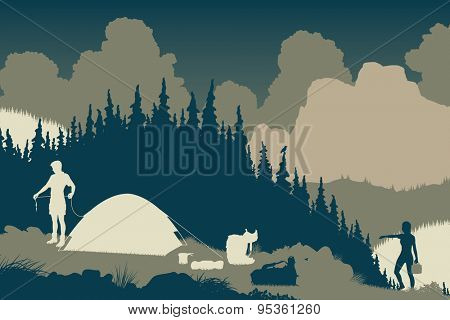 Illustration of a couple setting up camp in a wilderness area