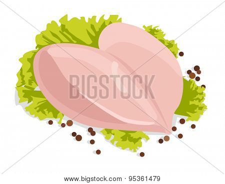 Vector fresh raw chicken breasts with black peppercorns, isolated on white background