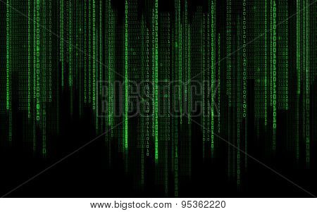 technology, future, programming and matrix - black green binary system code background