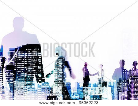 Silhouette Business People Discussion Commuting Concept