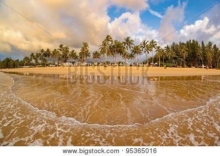 Idyllic tropical beach resort sunset