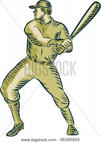 Baseball Player Batter Batting Bat Etching
