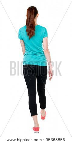 back view of walking woman.   beautiful blonde girl in motion.  backside view of person.  Rear view people collection. Isolated over white background. Sport girl in black tights boldly goes forward.