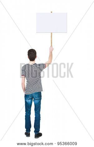 Back view man showing sign board. man holds information plate. Rear view people collection.  Isolated over white background. The guy in the striped shirt derzhet on a poster for the strike.