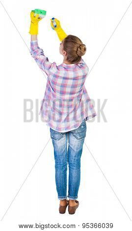 Back view housewife in gloves with sponge and detergent. girl  watching. Rear view people collection. backside view person. Isolated over white background. Girl in checkered red shirt washes ceiling