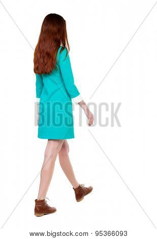back view of walking  woman. beautiful girl in motion.  backside view of person.  Rear view people collection. Isolated over white background. girl in a stylish vintage dress goes diagonally to right
