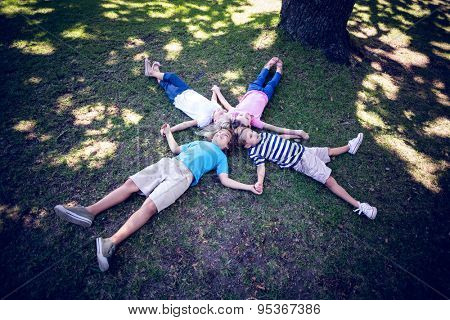 Happy familly lying down in the park on a sunny day