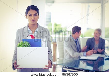 Businesswoman after being let go in the office
