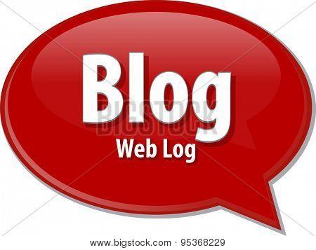 Speech bubble illustration of information technology acronym abbreviation term definition Blog Web Log