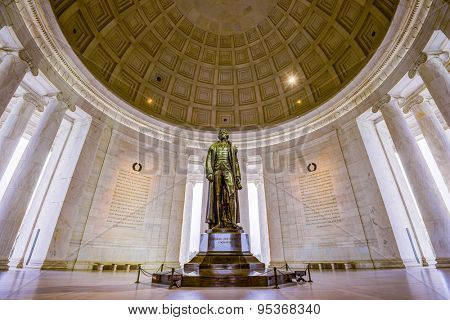 WASHINGTON DC - APRIL 7, 2015: The bronze statue inside the Jefferson Memorial. Jefferson was a founding father and the served as the third US President.