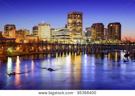 Richmond, Virginia, USA downtown skyline on the James River.