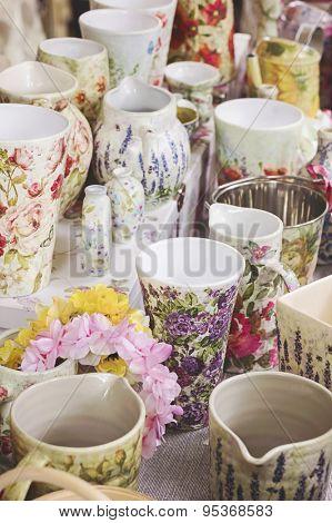 Decoupage pottery