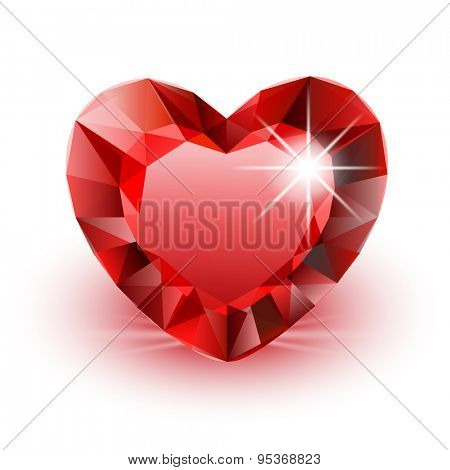 Icon Diamond Heart for Valentine on white background. Illustration.