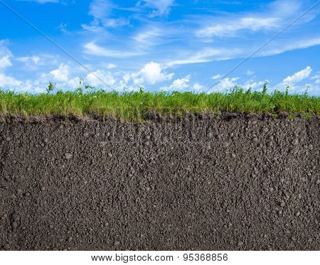 Soil, grass and sky nature background