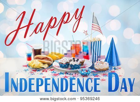 happy independence day, national holidays, celebration, food and patriotism concept - close up of hot dog with american flag decoration, potato chips and drinks on 4th july at home party