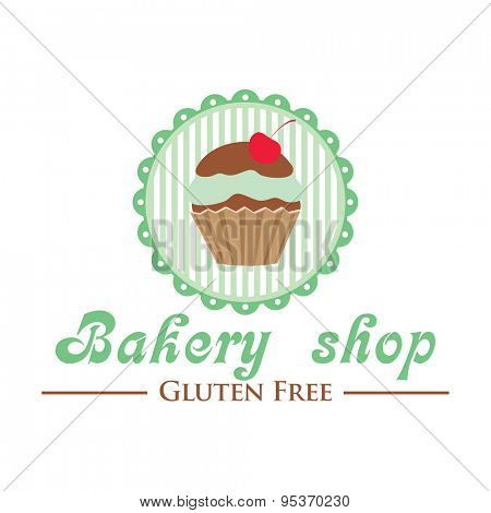 Gluten free bakery shop logo. Cute cupcake on striped background, retro style badge.