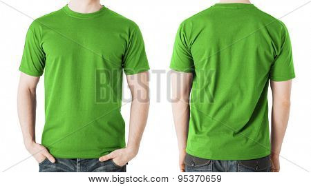 clothing design concept - man in blank green t-shirt, front and back view
