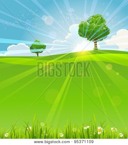 Summer landscape with sunrise with place for text. Nature positive design for advertising, leaflet, cards, invitation and so on.