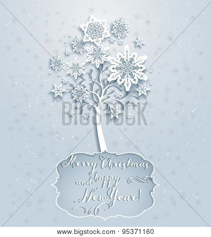 Ornamental holiday snowflakes tree. Elegant Christmas card