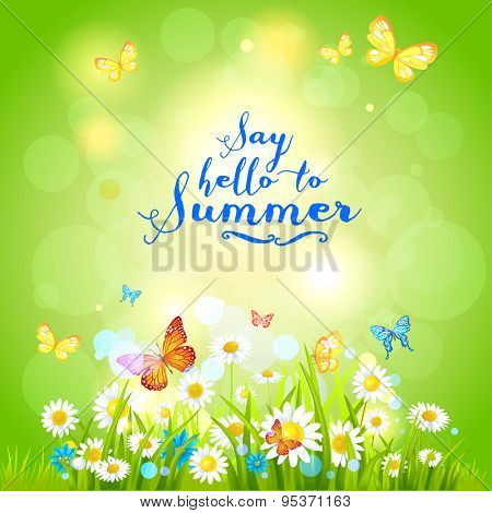 Positive summer backdrop with flowers and butterflies. Nature positive design for advertising, leaflet, cards, invitation and so on.