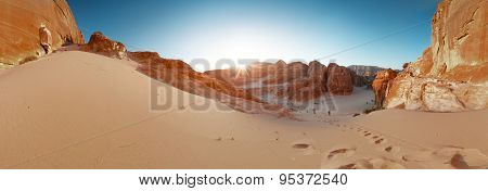 Panorama of the canyon in the desert. Sinai, Egypt