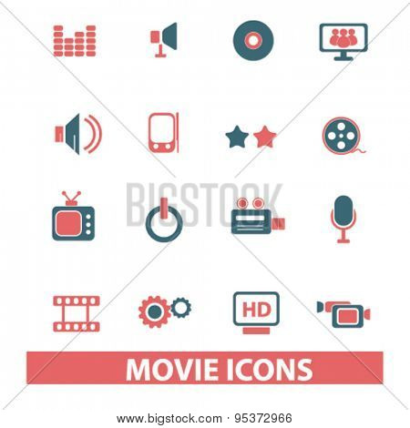 movie, cinema, video isolated vector icons
