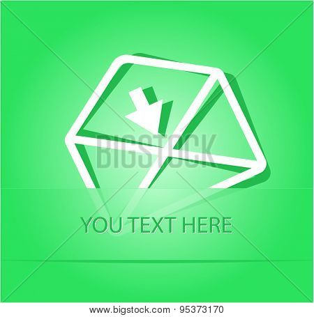 mail down arrow. Paper sticker as bookmark. Vector illustration. Eps10.