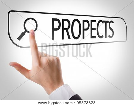 Prospects written in search bar on virtual screen