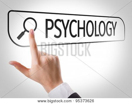 Psychology written in search bar on virtual screen