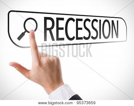 Recession written in search bar on virtual screen