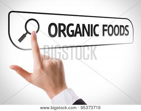 Organic Foods written in search bar on virtual screen