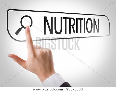 Nutrition written in search bar on virtual screen