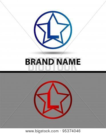 Letter L logo with star sign design vector template