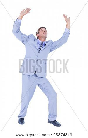 businessman afraid of the sky on white background