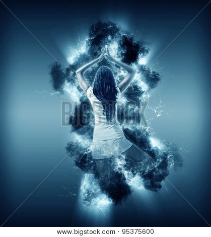 Digitally generated rear view of young woman wearing white shorts and white t-shirt standing in yoga tree pose in cloud illuminated from behind on navy background
