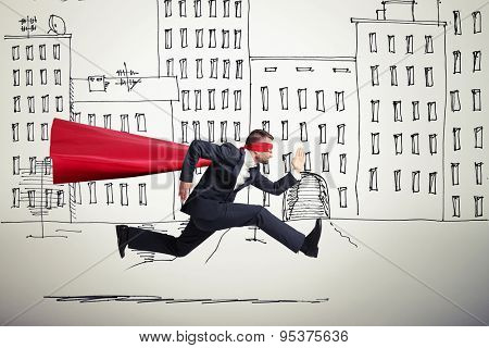 serious businessman wearing like superhero very fast running in drawing street