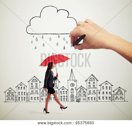 smiley woman with red umbrella walking under drawing storm cloud in the drawing city