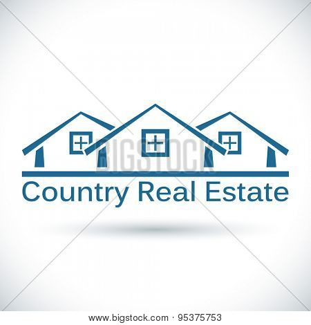Country real estate icon isolated on white background.