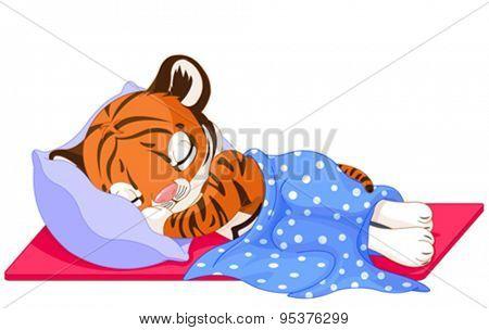 Illustration of cute tiger sleeping