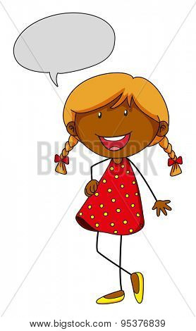 Girl in red skirt with speech bubble