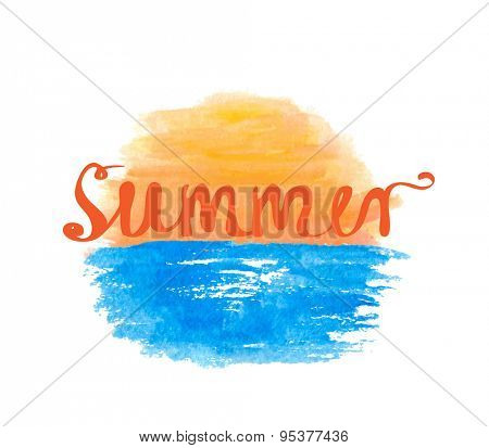 Sunrise over the water and hand-written word SUMMER, lettering, vector illustration
