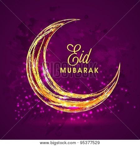 Beautiful creative crescent moon on shiny grungy purple background for holy festival of Muslim community, Eid Mubarak celebration.