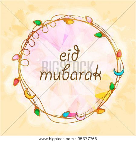 Beautiful creative rounded frame decorated with colorful lights and crescent moons on stylish background for famous festival of Muslim community, Eid Mubarak celebration.