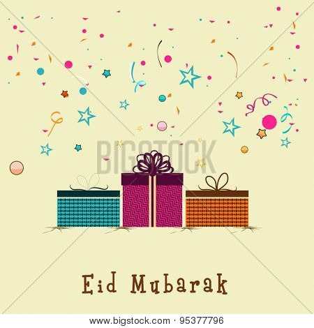 Elegant greeting card design with colorful wrapped gifts on stylish background for holy festival of Muslim community, Eid celebration.