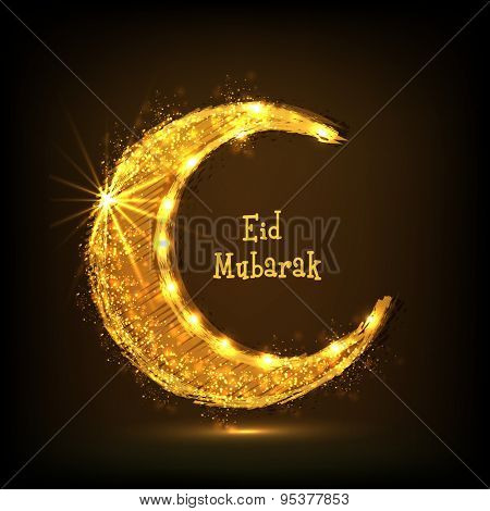 Beautiful creative golden crescent moon on brown background for holy festival of Muslim community, Eid celebration.