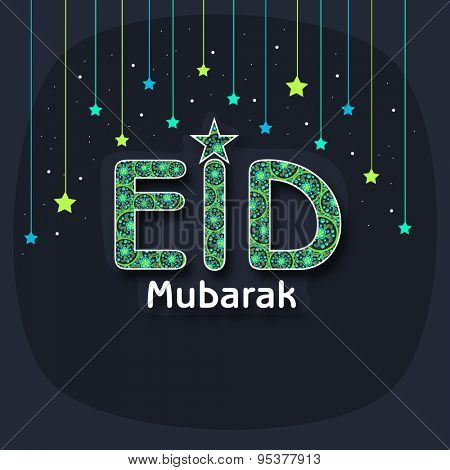 Elegant greeting card design with floral text Eid on stars decorated background for Islamic famous festival, Eid celebration.