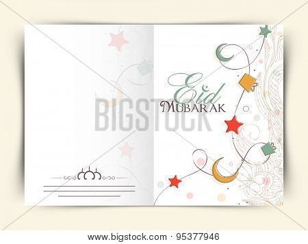 Colorful moon, stars, gifts and floral design decorated greeting card design for muslim community festival, Eid Mubarak celebration.