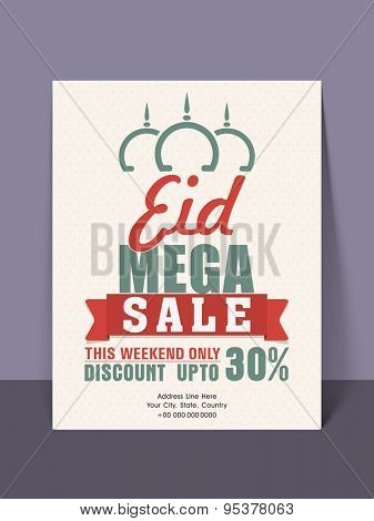 Mega sale flyer, banner, template or poster with limited time offer for muslim community festival, Eid celebration.