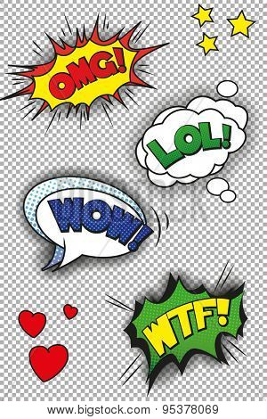 Pop art speech bubbles with LOL, OMG, WOW and WTF. EPS10 vector format