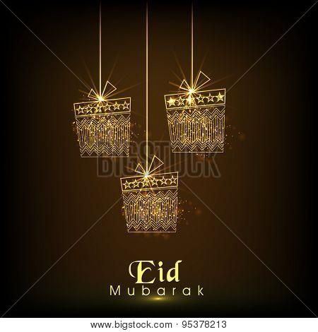 Elegant greeting card design with golden hanging gifts on brown background for Muslim community festival, Eid celebration.